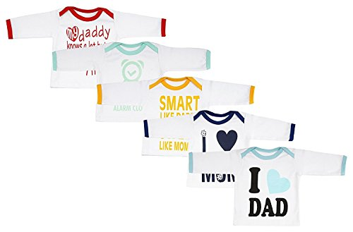 Fareto Baby Mom & Dad Quotes Combo of 5 Full Sleeves White Printed T-Shirts/Tees/ Daily Wear Tees (White, 0-6 Months)
