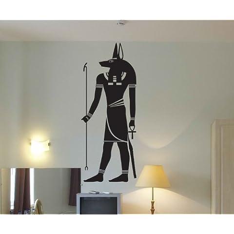Anubis Wandtattoo, egipcio Diós Adhesivo Aegypthen Decoración Osiris 1M 296 - Negro Mate, 140cm