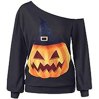 JYC Sudaderas Mujer,Mujer Halloween Impresión Largo Manga,Camisa de Entrenamiento Pullover Tops Blusa Camisa