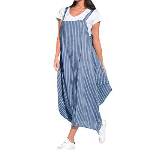 BOIYI Sommer Damen Kleid Sale Women Casual Streifen Print Strap Lose Tasche Unregelmäßige Lose Vintage Kleid(Blau,XXXXXL) -