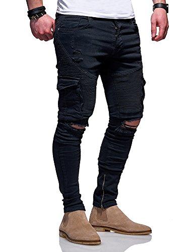 Denim Cargo Jeans (MT Styles Biker Cargo Jeans Hose JN-3101 [Schwarz, W30/L32])