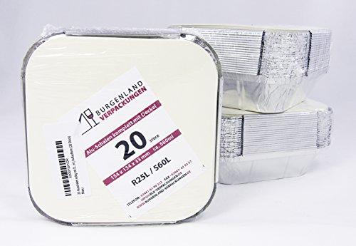 20 Aluschalen eckig mit Deckel | R25L | 560 ml | 154 x 154 x 33 mm | Aluschale | Alu-Schale | ungeteilt | Menüschalen | Alu-Menüschale | Lunchbox | Assietten | Leberkäseform | Menüteller | Alubehälter | Aluminiumschalen | Tropfschale | Lasagneform | Backform | Auflaufform (20 Stück)