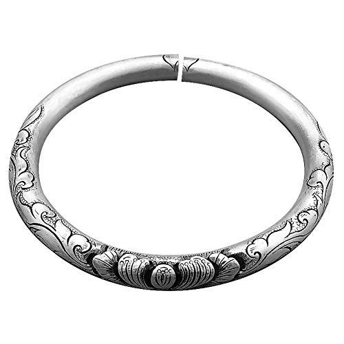 ngraviert Armreif für Frauen Temperament einfache Art und Weise einstellbar erweiterbar Retro inspirierend Persönlichkeit 999 Sterling Silber Schmuck Geburtstagsgeschenk ()