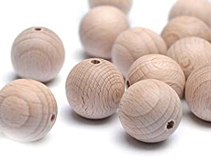 Beads Unlimited 20 mm Wood Round Unvarnished, Pack of 20, Natural