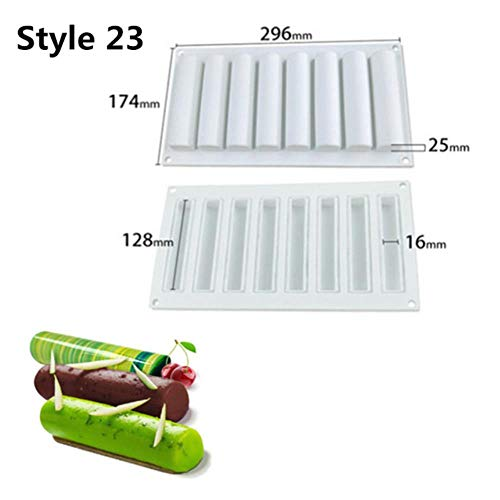 FTFSY Cake Mold for Baking Dessert Mousse Silicone 3D Mould Silikonowe Moule Pastry Chocolate Pan Fondant Bakeware,Style 23 23 Chocolate Mold