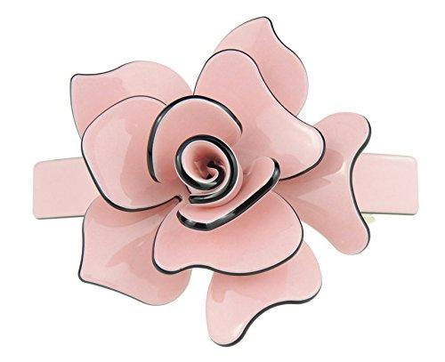 Large barrette pour cheveux - Rose 3D - 9 cm - Noir avec bords en dégradé