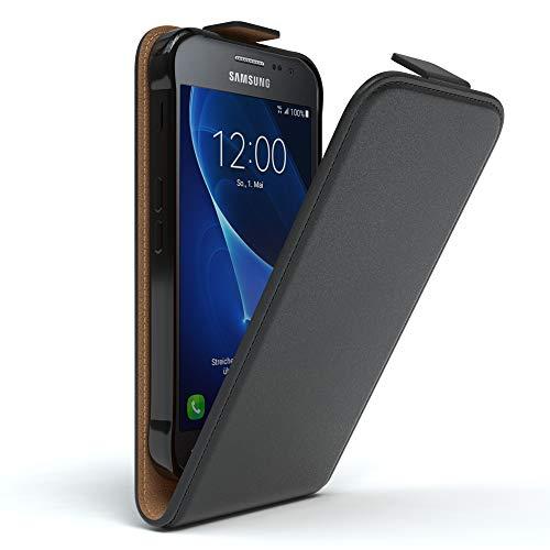 EAZY CASE Hülle für Samsung Galaxy Xcover 3 Hülle Flip Cover zum Aufklappen, Handyhülle aufklappbar, Schutzhülle, Flipcover, Flipcase, Flipstyle Case vertikal klappbar, aus Kunstleder, Schwarz