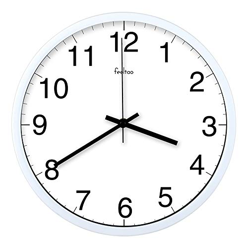 Ufficio affari orologio da parete classiche da parete da 14 pollici semplici di grandi dimensioni orologi al quarzo scatola nera su bianco muto 12 pollici cornice bianca
