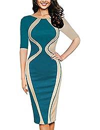 0738600c9535 Italily - vestiti taglie forti donna Moda di splicing pizzo femminile Mini abito  da sera sexy da Donne Collo Rotondo…