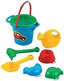 Marioinex Kleines Sandset Gießkanne 8 TLG. Eimer Sieb Strandset Strandspielzeug Spielzeug Sandspielzeug Kinderspielzeug Harke Schaufel Sandkasten Kinder Strand Sand Sandkasten
