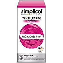 Simplicol Textilfarbe intensiv I Textilfärbung für die Waschmaschine I Färbemittel und Fixierpulver | Fröhliches Pink 1805