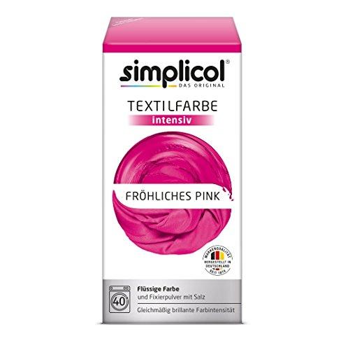 simplicol Textilfarbe intensiv (18 Farben), Fröhliches Pink 1805: einfaches Textilfärben in der Waschmaschine, Komplettpackung mit...