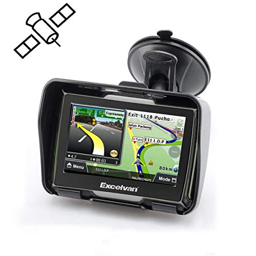 Excelvan GPS Navigation Auto Motos Bike Etanche 8 GB HD Ecran Tactile Voice Guide Multi-Langue avec Bluetooth-Noir