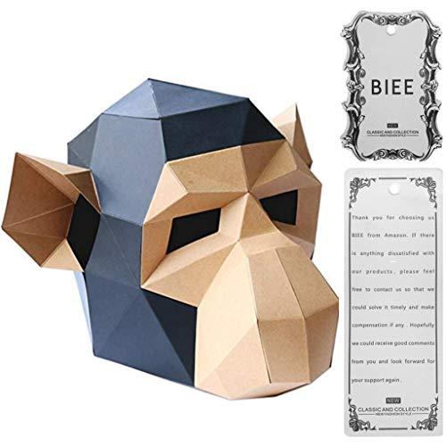 Biee 3d paper mask animal head stampi fai da te halloween party costume cosplay facciale paper-craft kit