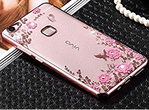LOXXO Vivo V3 - Shockproof Silicone Soft TPU Transparent Auora Flower Case with Sparkle Swarovski Crystals for Vivo V3 Back Cover (Rose Gold)