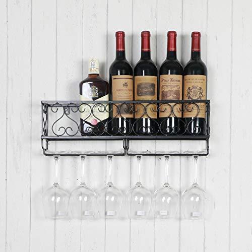 Weinflaschenregal aus Metall, zur Wandmontage, 6 Lange Stiel-Flaschen und Glashalter für Zuhause, Küche oder Essen, Weinzubehör, Korkaufbewahrung - Französisch Wein Rack
