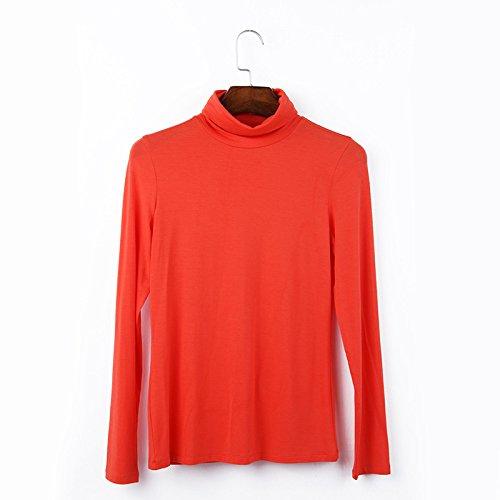 OME&QIUMEI Col Montant Sur Le T-Shirt Col Montant DAutomne Et DHiver Sur La Chemise Ou T-Shirt Femme Manches Longues De Couleur Solide Couleur Multi- Brick Red