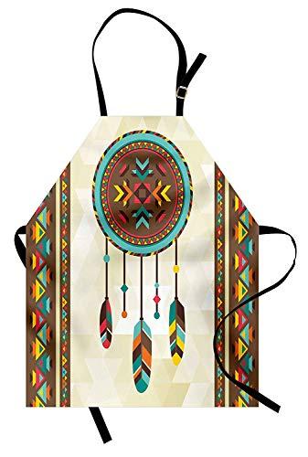 (Ethnische Schürze, Dream Catcher Illustration mit Stammes-Hintergrund Quills Indianer Ureinwohner traditionell, Unisex Küchenschürze mit verstellbarem Hals zum Kochen Backen Gartenarbeit, Multicolor)
