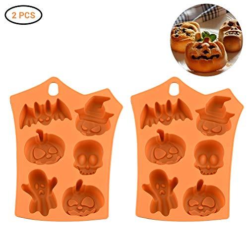 2 Stücke Halloween Kuchen Formen Halloween Silikonform Zum Backen und Basteln Fledermaus und Kürbisform Backen Dekoration für Kuchen Handgefertigte Kekse Schokolade