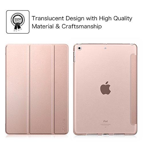 Fintie iPad 9.7 Zoll 2017 Hülle – Ultra Slim Superleicht Schutzhülle mit transparenter Rückseite Abdeckung Smart Case mit Auto Schlaf / Wach Funktion für Apple iPad 2017 Neue Modell, Roségold - 2