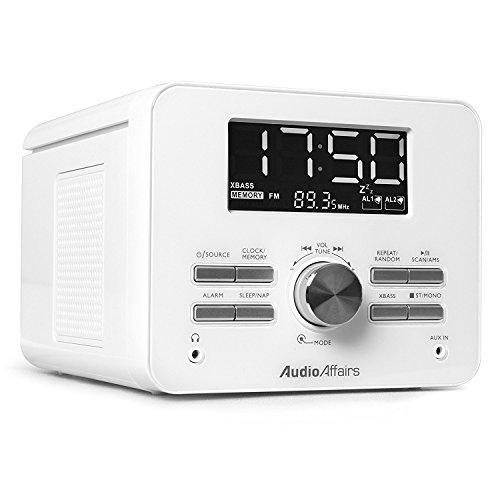 AudioAffairs CD-Uhrenradio | CD-Player mit UKW-Radio-Wecker | AUX-IN | 2 Weckzeiten | Snooze- und Sleep-Timer - Nur erhältlich auf Amazon.de (Mit Digital Radio Cd-player)