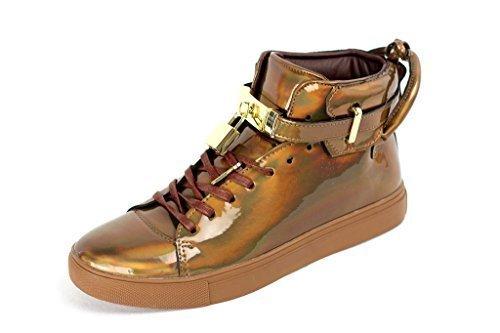 Hommes À Lacets Fête Baskets Décontractées Designer Baskets Tendance Montante Chaussures - Bronze, 42