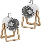 BRUBAKER set de 2 lámparas de sobremesa o de pie - diseño industrial - altura hasta 42 cm - base de madera - foco metal blanco