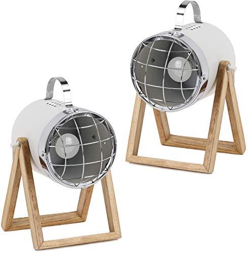 BRUBAKER - Lampe de table/de chevet - Lot de 2 - Design industriel - Hauteur jusqu'à 42 cm - Pied en Bois - Spot en Métal/Blanc