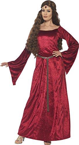 Smiffy's 44682X1 - Damen Mittelalterliches Fräulein Kostüm, Größe: 48-50, (50 Kleidung Kostüme)