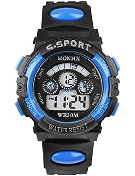 FEITONG Leben Wasserdicht Kinder Jungen Digital LED Quartz Alarm Date Sports Silikon Armbanduhr Blau
