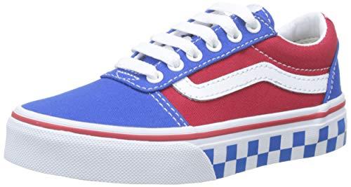 Vans Jungen Ward Canvas Sneaker, Mehrfarbig ((Checker Tape) Princess Blue/Racing Red V0x), 27 EU (Canvas-tape)