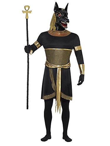 shoperama 5-Teiliges Herren Kostüm Ägyptischer Gott Anubis König Ägypter Verkleidung Totengott Mythologie Gottheit, Größe:L