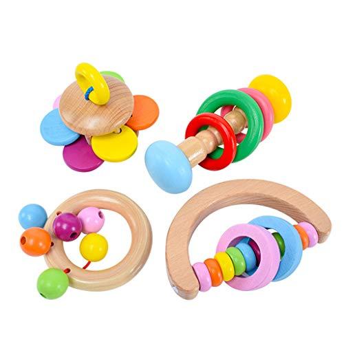 Hergon Montessori - Juego de 4 cascabeles de Madera, sonajero y Banda de música para bebé