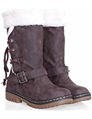 Botas De Nieve Con Cordones Para Mujer Comfort Winter Fabric Casual Buckle Botas De Algodón Con Talón Plano Brown Black ( Color : Brown , Size : 34 )