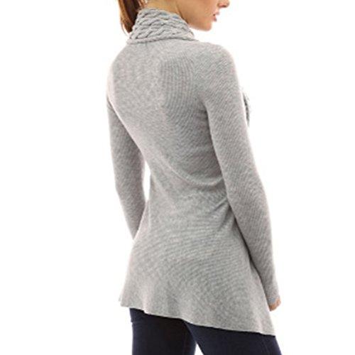 Femme Cardigan Tricoté à Manches longues Chandail Casual Pull Col V Sweater Elegant Gilet Outwear Blouson Sweatshirt Grey