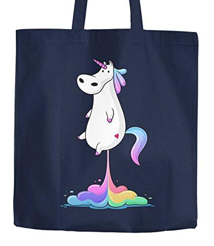Stoffbeutel pupsendes Einhorn Regenbogen Unicorn Fart Baumwollbeutel Jutebeutel Moonworks® natur 2 lange Henkel Einhorn Furz Navy