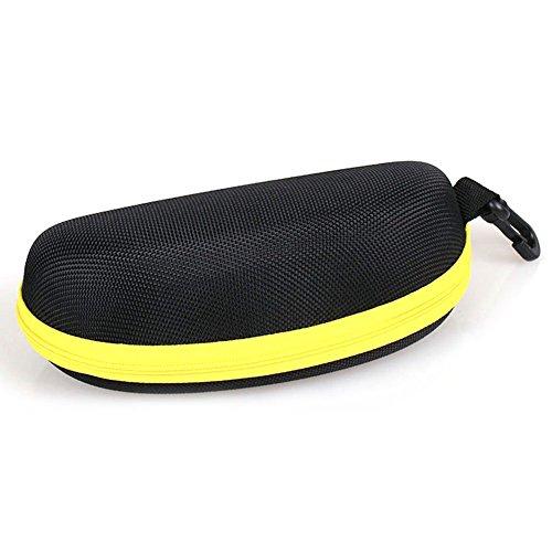 Scrox Eva Wearable Brillenetui Box Schutz der Sonnenbrille Reise im Freien Festplatte Fall Zipper Festplatte mit Haken Form Clamshell, gelb, 16 * 6.5 * 6.5cm