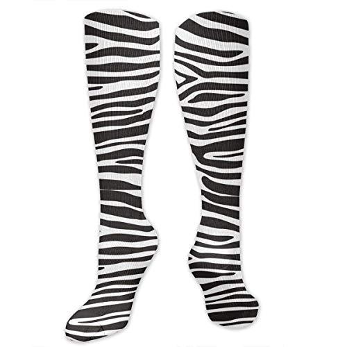NFHRREEUR Unisex Men Women Knee High Socks Zebra Prints Compression Socks Sports Athletic Socks Tube Stockings Long Socks Funny Personalized Gift ()