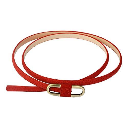 Audixius Damen Super Schmal Poppig Jeans Kleid Belt Gürtel Mit Bronze Schnalle, Rot, Einheitsgröße