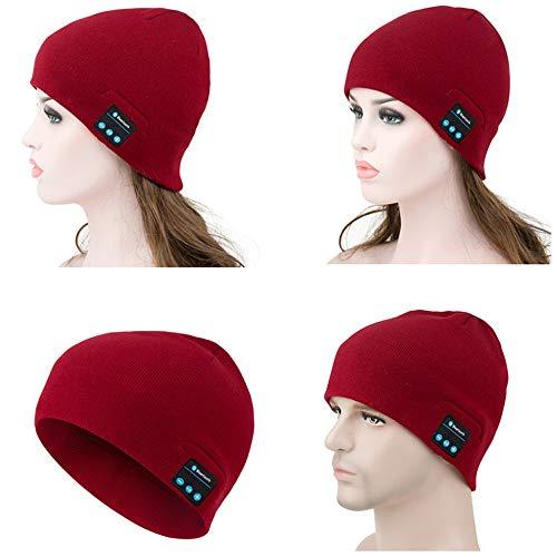 Drahtlose Bluetooth Beanie Hat Unisex Frauen Männer Winter Waschbar Warme Musik Strickmütze mit Wireless Stereo Kopfhörer Headset Kopfhörer Lautsprecher Mic Hands Free,Red - Red Hands Free-headset