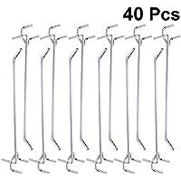 DOITOOL 40 piezas Ganchos para tableros con agujeros de Metal ganchos para estanterías y organizador de garaje gancho de colgar accesorios pegboard tableros de clavijas (15 x 2,5 x 3 cm)