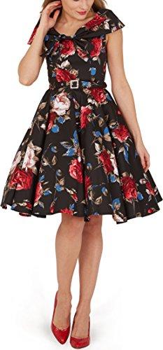 BlackButterfly 'Cynthia' Vintage Mercy Kleid im 50er-Jahre-Stil (Schwarz Rot, EUR 42 - L) (50er Jahre Stil Kleid Bis)