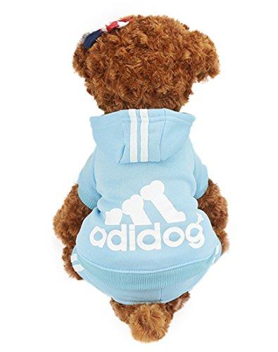 Idepet TM Hundemantel Adidog Pet Hund Katze Kleidung 4Beine Baumwolle Puppy Hoodies Mantel Pullover Kostüme Hund Jacke, XL, Blau -