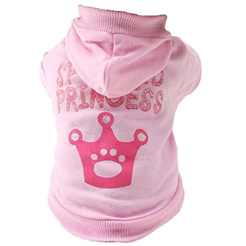 TOOGOO(R) Dog Cat Clothes Jersey Knitwear Warm Vest for Dog Jacket Hooded Coat Dog Clothes (Pink, XS)