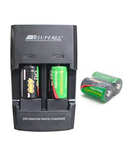 SUPEREX-Rechargeable-Battery-Charger-for-3V-CR123A-CR2-Lithium-Batteries-Color-Black