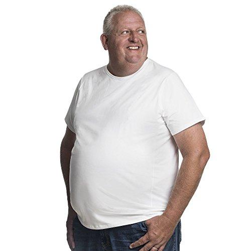 Alca Fashion T-Shirt Herren Rundhals Doppelpack Basic 2 Stück Tshirt Übergrößen XL - 8XL für Männer mit Übergröße Bauchumfang 4XL-B Weiß - Großer Mann Crewneck T-shirt