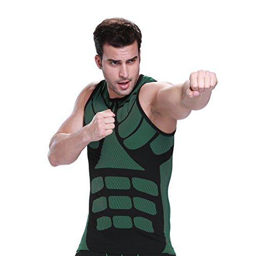 ZEROBODYS Mens Outdoor asciugatura rapida Gilet Vest Sport Esecuzione Abbigliamento SS-M08 (verde, L)