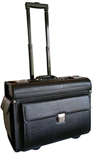 Grande à roulettes pour ordinateur portable Valise de pilote en simili cuir grainé Sac à dos sur roues