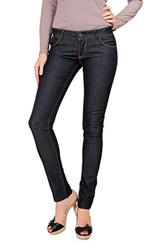 Dark Denim Flare Jeans (Anna David Damen Jeans Skinny Slim Leg Jeans Glam, Farbe: Dunkelblau, Größe: 30/34)