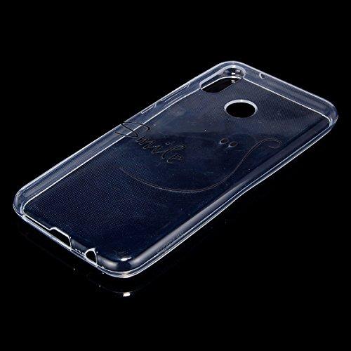 Coque Huawei P20 Lite,Etui Housse Huawei P20 Lite,Surakey Impression de Motif Transparente Souple Silicone Housse Etui Coque de Protection en TPU Bumper Case pour Huawei P20 Lite, Smile